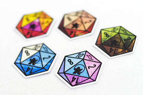 D20 stickers from Hey Meepling