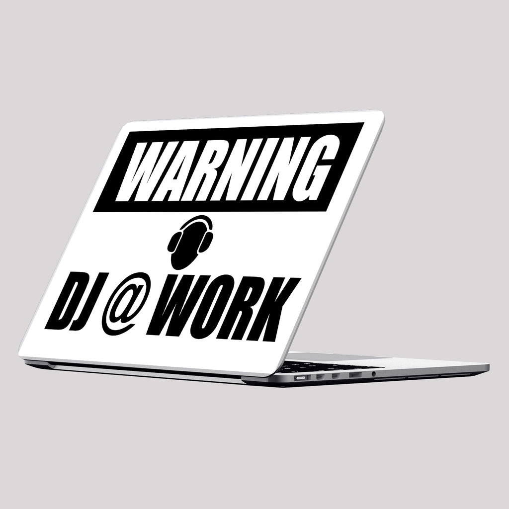 Warning: Dj @ Work Laptop Skin/Decal - GET FRESH MARKETPLACE