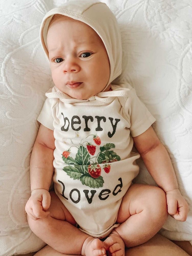 """Berry Loved"" Short Sleeve Organic Bodysuit"