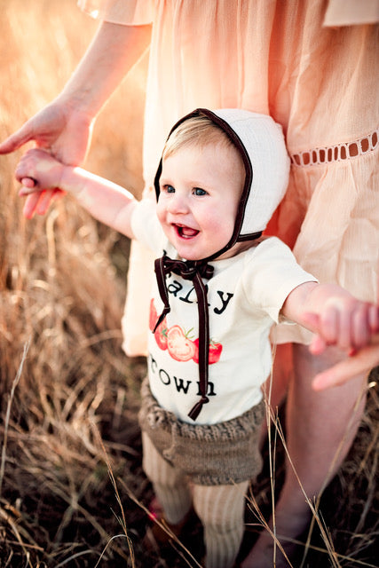 """Locally Grown"" Tomato Short Sleeve Organic Bodysuit"