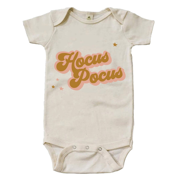"""Hocus Pocus"" Golden Short Sleeve Organic Bodysuit"