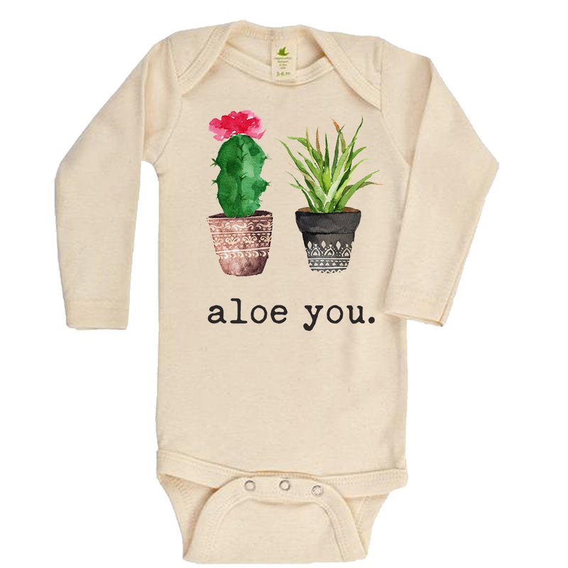 """Aloe You"" Long Sleeve Organic Bodysuit"