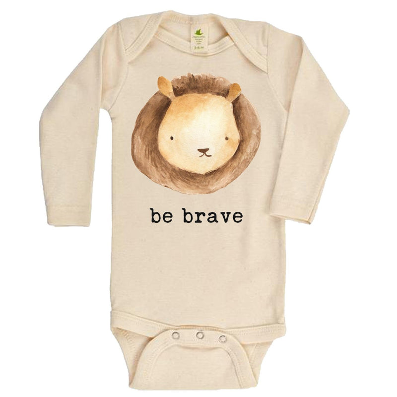 """Be Brave"" Long Sleeve Organic Bodysuit"
