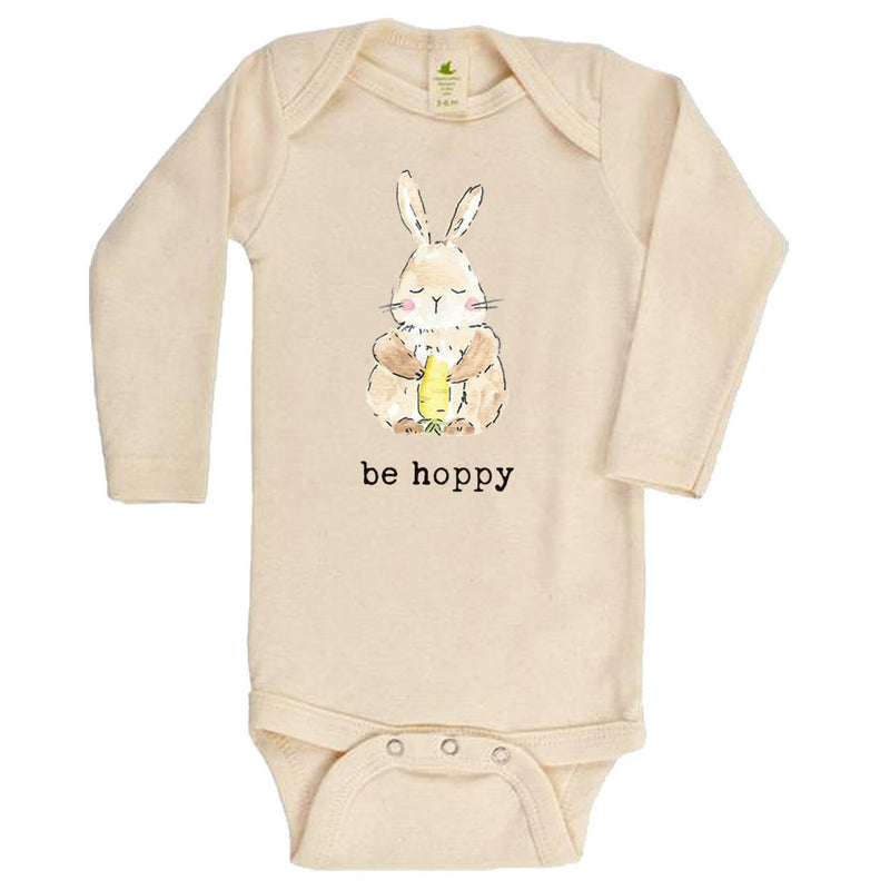 """Be Hoppy"" Bunny Long Sleeve Organic Bodysuit"