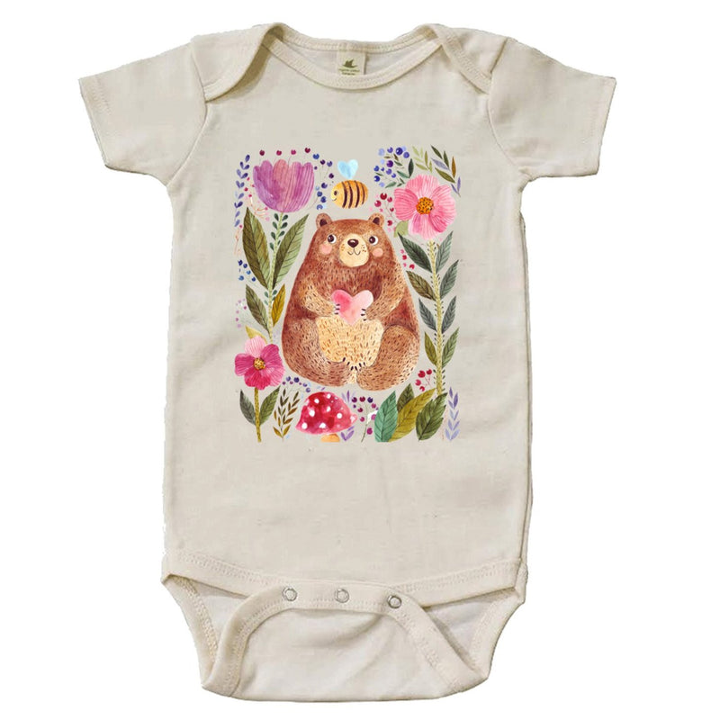 The Bee And The Bear Short Sleeve Organic Bodysuit