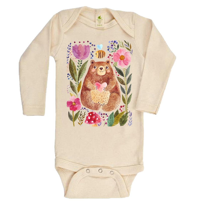 The Bee And The Bear Long Sleeve Organic Bodysuit