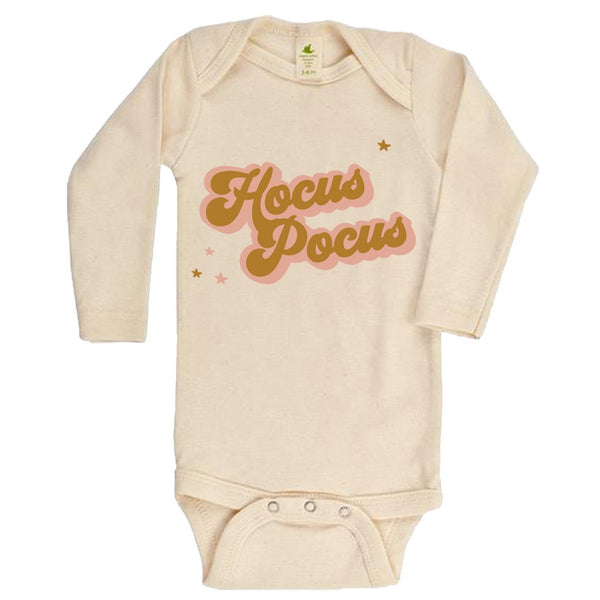 """Hocus Pocus"" Golden Long Sleeve Organic Bodysuit"