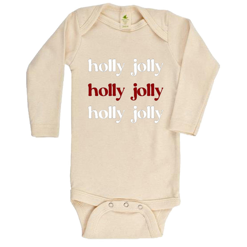 """Holly Jolly"" Long Sleeve Organic Bodysuit"