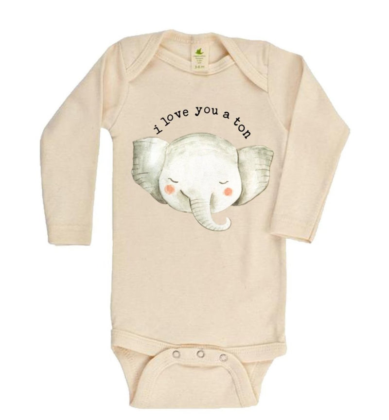 """I Love You A Ton"" Elephant Long Sleeve Organic Bodysuit"