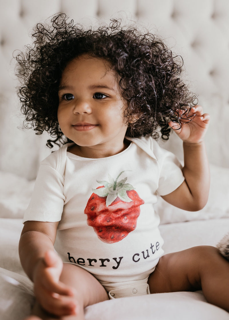 """Berry Cute"" Short Sleeve Organic Bodysuit"
