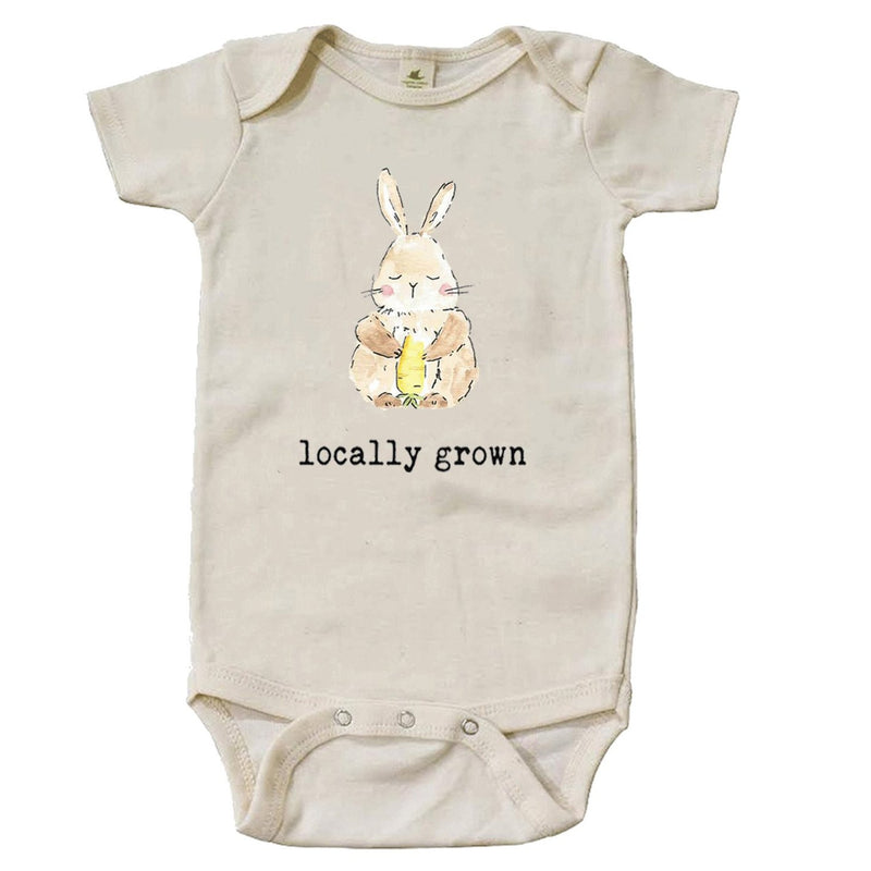 """Locally Grown"" Bunny Short Sleeve Organic Bodysuit"