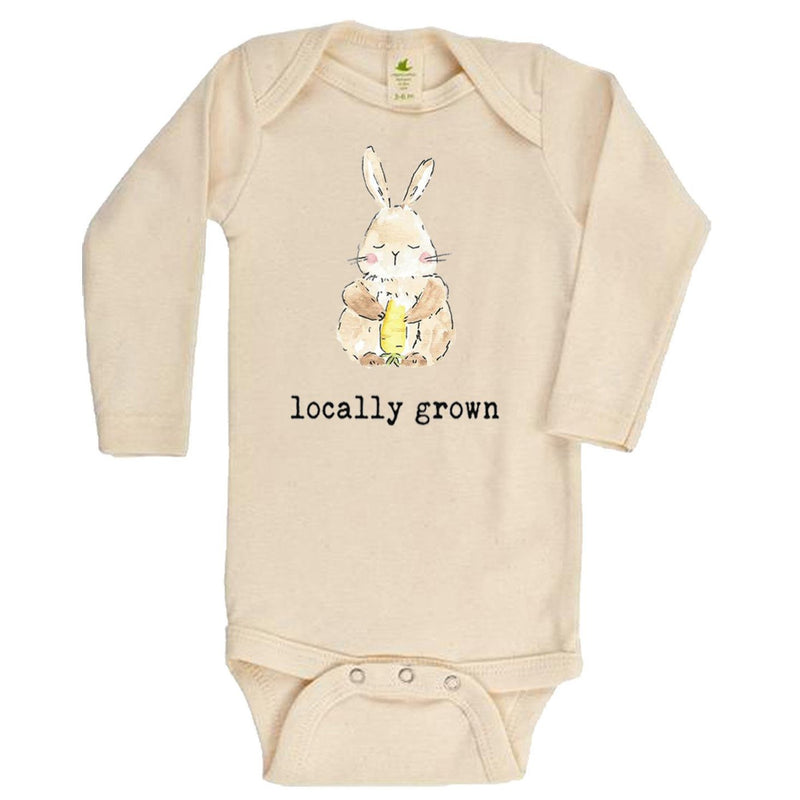 """Locally Grown"" Bunny Long Sleeve Organic Bodysuit"