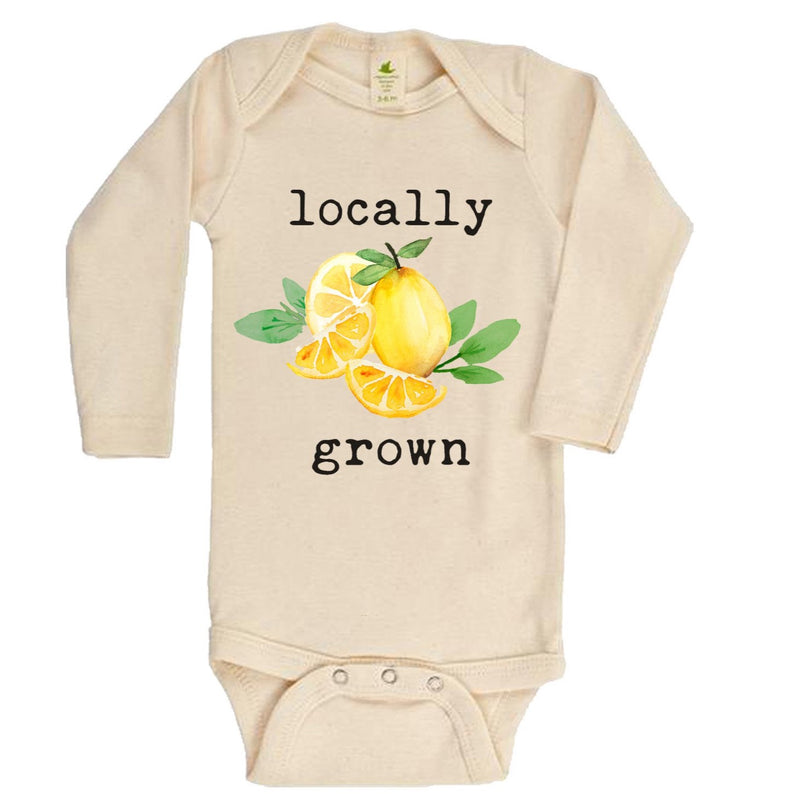 """Locally Grown"" Lemon Long Sleeve Organic Bodysuit"