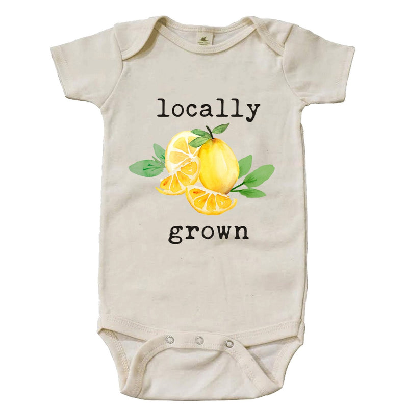 """Locally Grown"" Lemon Short Sleeve Organic Bodysuit"
