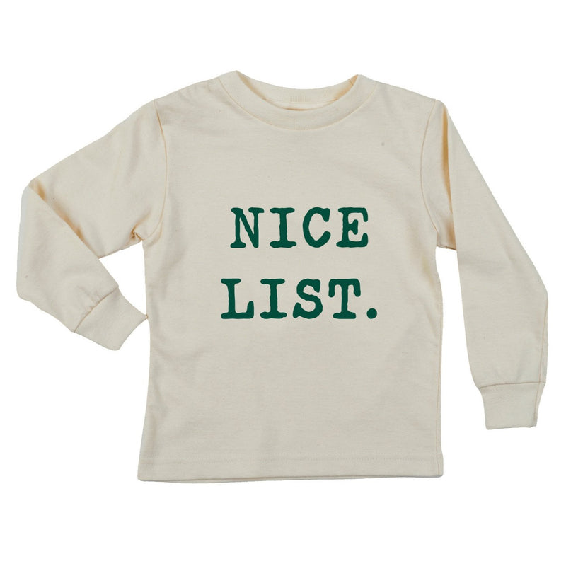 """Nice List"" Long Sleeve Organic Tee"