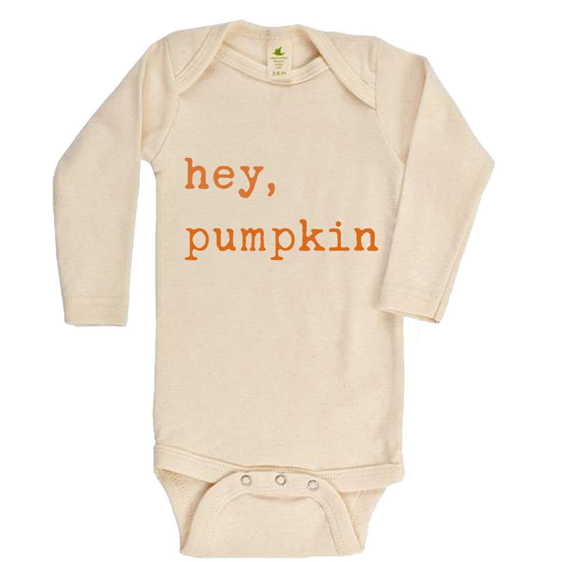 """Hey Pumpkin"" Orange Font Long Sleeve Organic Bodysuit"