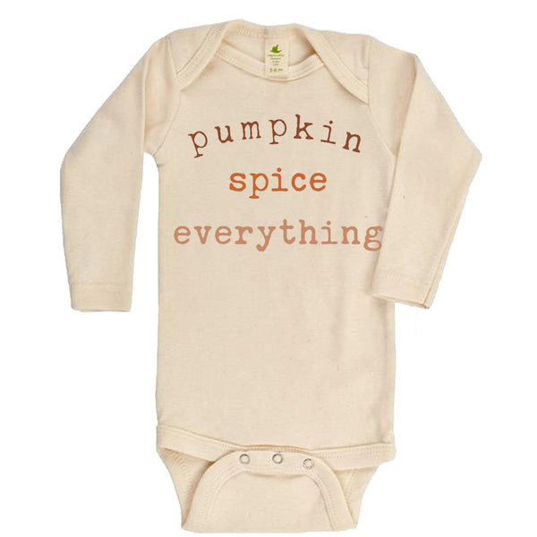 """Pumpkin Spice Everything"" Long Sleeve Organic Bodysuit"