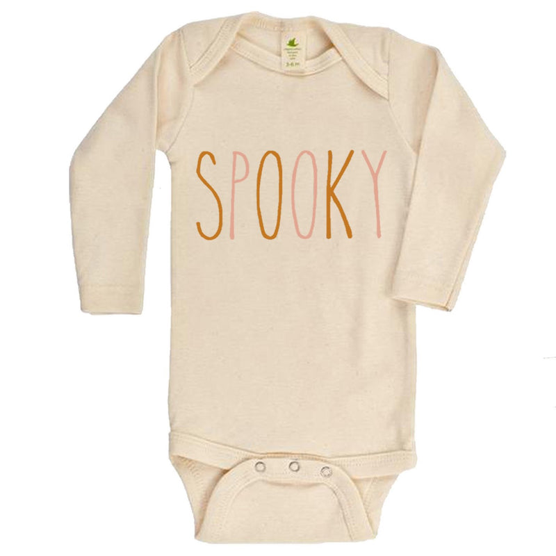 """Spooky"" Long Sleeve Organic Bodysuit"
