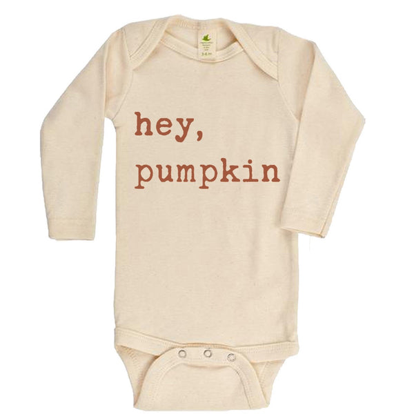 """Hey Pumpkin"" Rust Font Long Sleeve Organic Bodysuit"