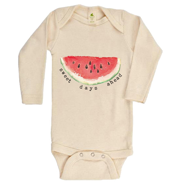 """Sweet Days Ahead"" Watermelon Organic Bodysuit"