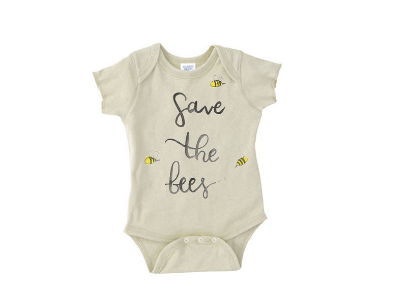 """Save The Bees"" Gender Neutral Short Sleeve Organic Bodysuit"
