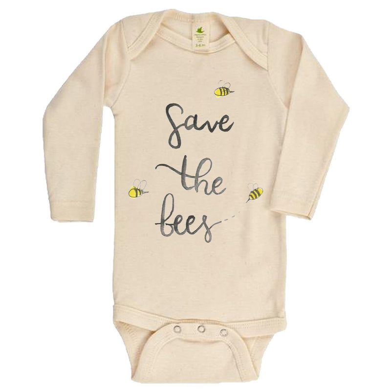 """Save The Bees"" Gender Neutral Long Sleeve Organic Bodysuit"