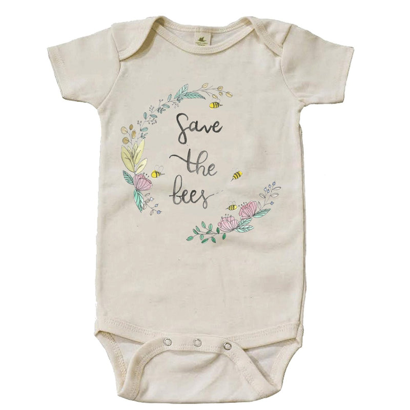"""Save The Bees"" Wreath Short Sleeve Organic Bodysuit"