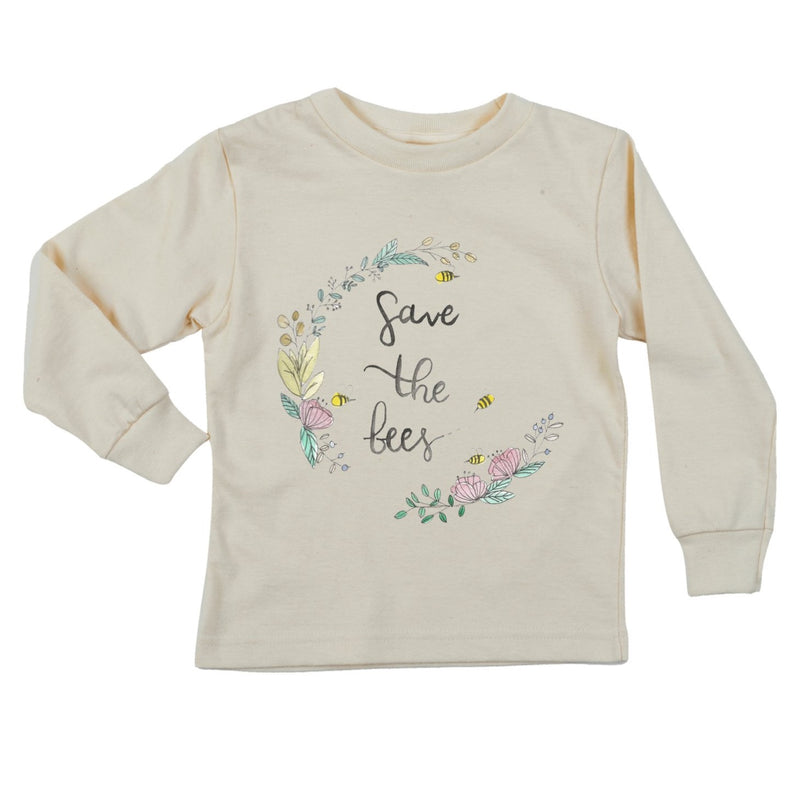 """Save The Bees"" Wreath Long Sleeve Organic Tee"