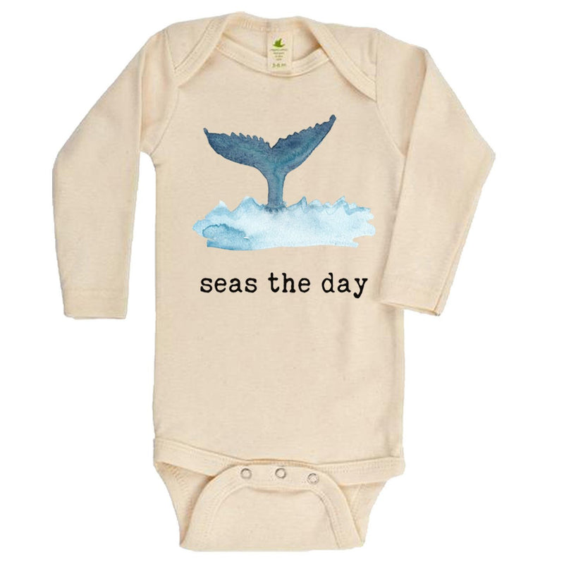 """Seas The Day"" Long Sleeve Organic Bodysuit"