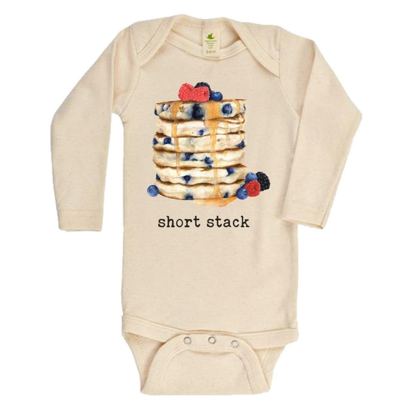 """Short Stack"" Pancake Long Sleeve Organic Bodysuit"