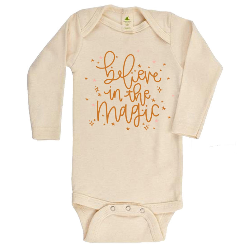 """Believe In the Magic""  Long Sleeve Organic Bodysuit"