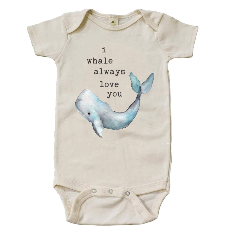 """I Whale Always Love You"" Short Sleeve Organic Bodysuit"