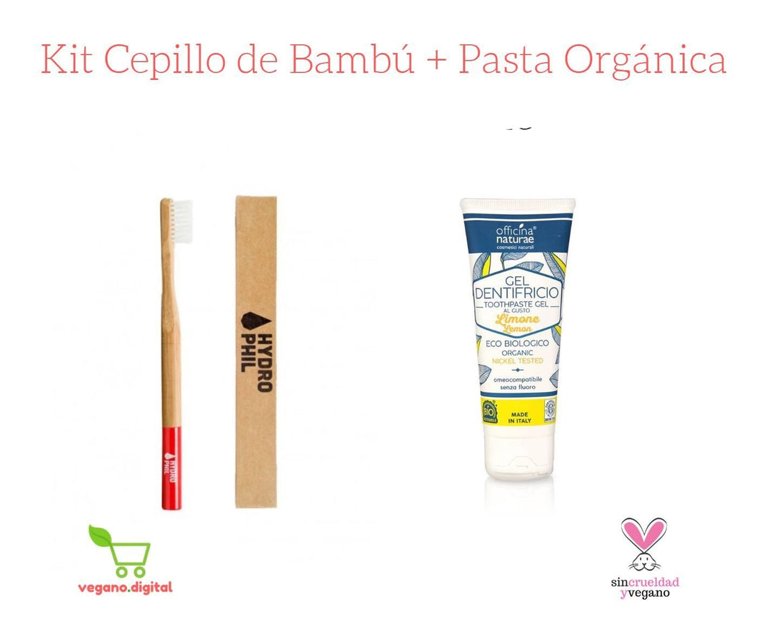 KIT CEPILLO DE BAMBÚ + PASTA DENTAL EN GEL ORGÁNICA