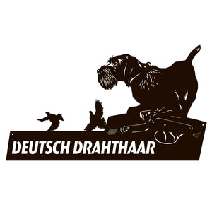 "Metal dog sign ""Deutsch drahthaar"" 12.2x22.5"""