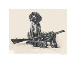 "Author's print ""Hunting soon...Puppy Drahthaar"""