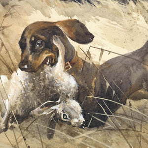 "Author's print ""Hunting with dachshunds in Hazelglade"""