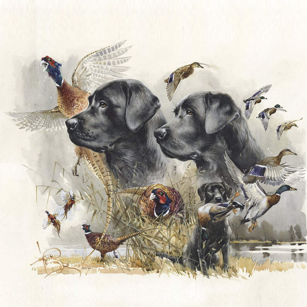 "Author's print ""Labradors hunting"""
