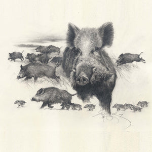 "Author's signed print ""Wild Boars Hunt"""