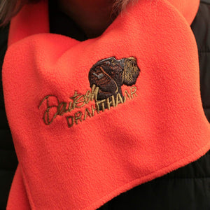 "Fleece hunting hat and scarf ""German Wirehaired Pointer (Deutsch Drahthaar)"" luminescent orange"