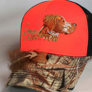 "Hunters hat ""Epagneul Breton"" orange-grey-camo"