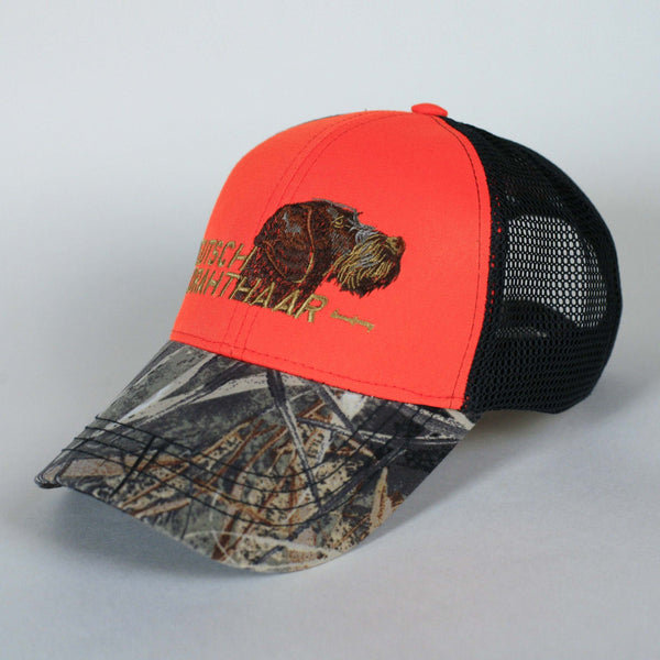 "Hunting hat ""German wirehaired pointer (Deutsch drahthaar)"" orange+camo"