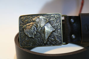 "Author's leather belt ""Deutsch drahthaar"""