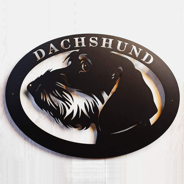 "Metal dog sign ""Wirehaired Dachshund"""
