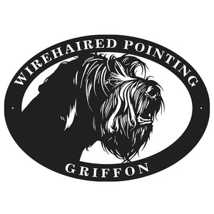 "Metal dog sign ""Wirehaired Pointing Griffon"""
