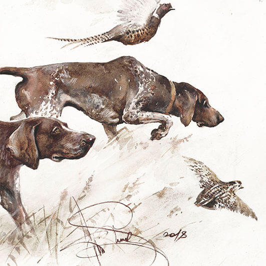 """Hunting with German Shorthaired Pointer"""", animal art, art for sale - Siurha  Art"""
