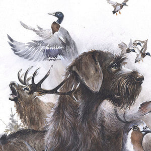 "Author's print ""Hunting with German Wirehaired Pointer"""