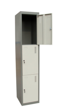 3 Tier Lockable Lockers (JF-1B3A), Locker/Cabinet with 3 Doors,3 Locks, PadLock Hooks