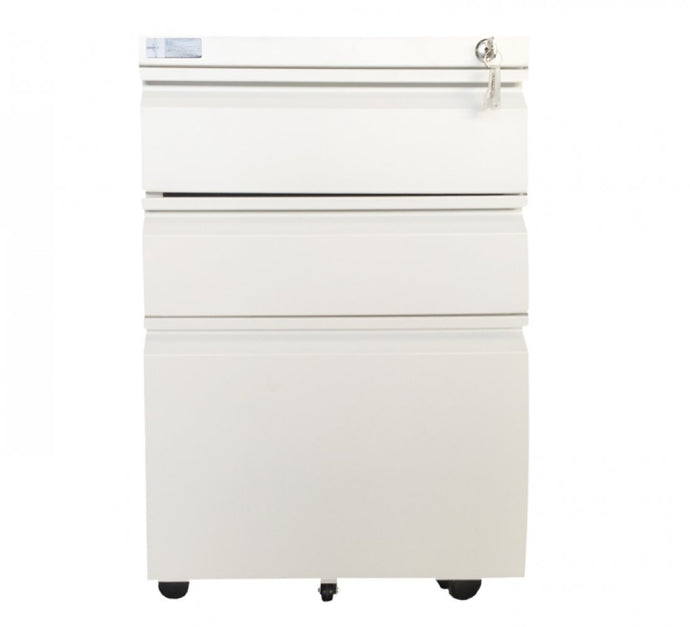 Steel Pedestal 3 drawer Mobile filing Cabinet with Lock(JF-P14)(White)