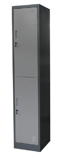Two Tier Metal Lockers (JF-1B2A), Locker/Cabinet with 2 Doors,2 Locks and PadLock Hooks