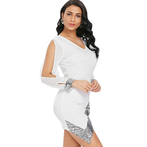 Slit Sleeve Sequin Trimmed Chiffon Party Dress